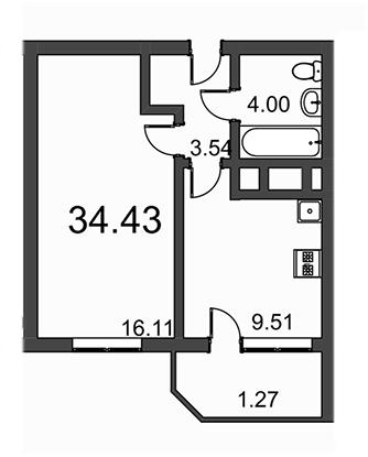 Планировка Однокомнатная квартира площадью 34.43 кв.м в ЖК «Витамин»