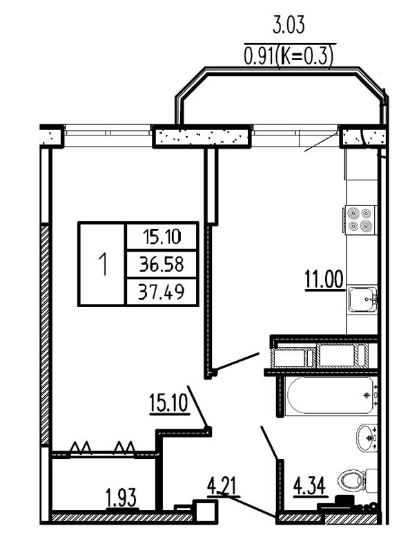 Планировка Однокомнатная квартира площадью 37.49 кв.м в ЖК «Витамин»