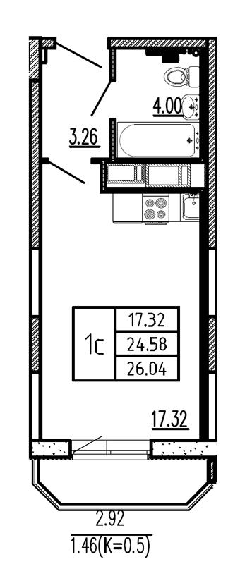 Планировка Студия площадью 26.04 кв.м в ЖК «Витамин»