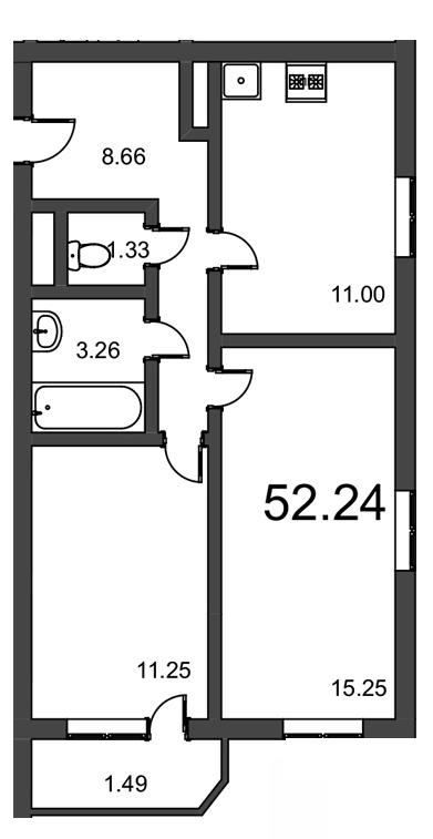 Планировка Двухкомнатная квартира площадью 52.24 кв.м в ЖК «Витамин»