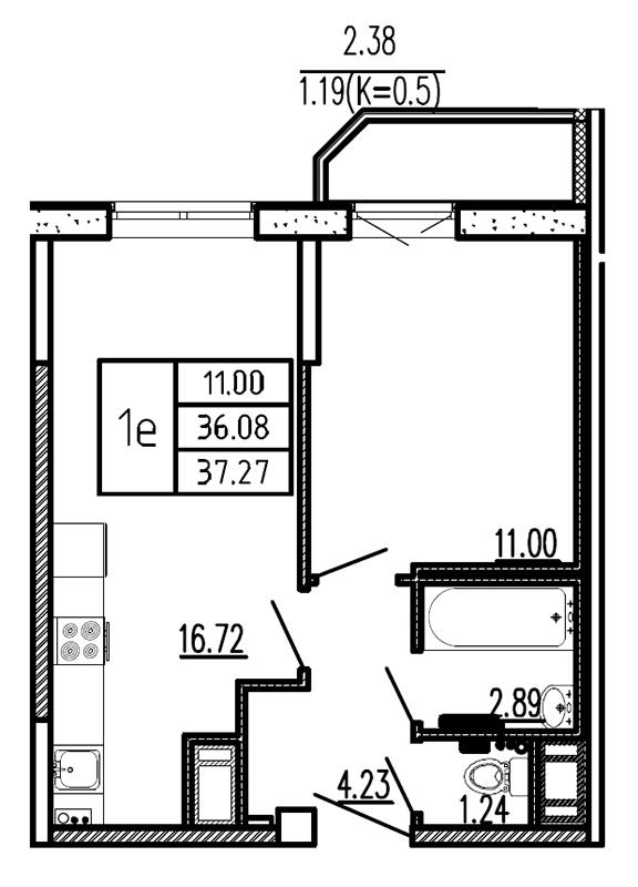 Планировка Однокомнатная квартира площадью 37.27 кв.м в ЖК «Витамин»