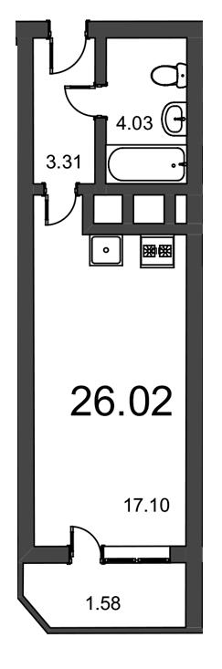 Планировка Студия площадью 26.02 кв.м в ЖК «Витамин»