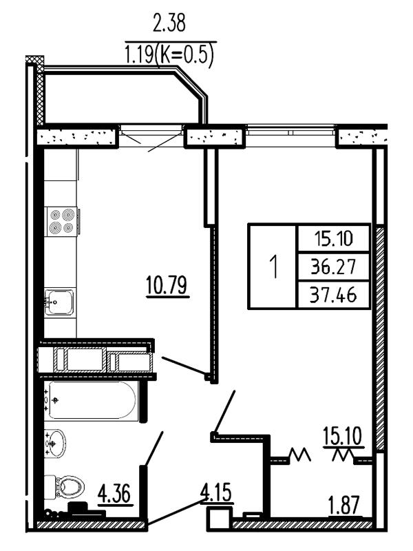Планировка Однокомнатная квартира площадью 37.46 кв.м в ЖК «Витамин»