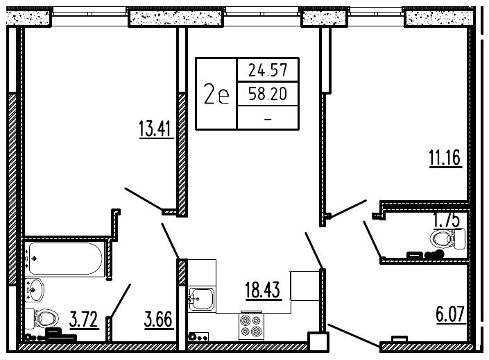 Планировка Трёхкомнатная квартира (Евро) площадью 58.2 кв.м в ЖК «Витамин»
