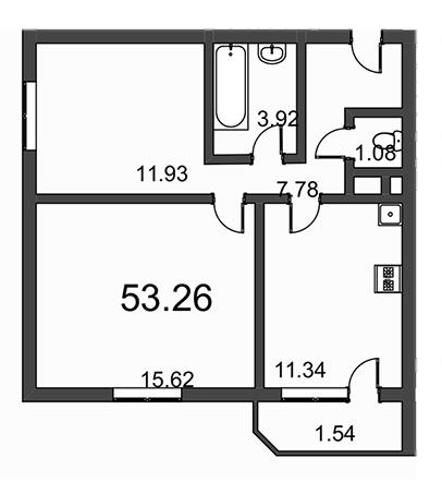 Планировка Двухкомнатная квартира площадью 53.26 кв.м в ЖК «Витамин»
